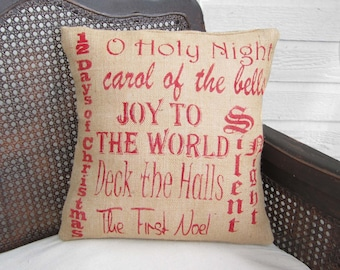 Christmas Carols - Burlap Christmas Pillow