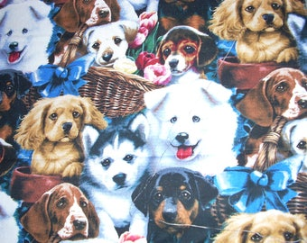 Dogs in baskets -  Cotton Fabric - 20 inches long by 28 inches wide