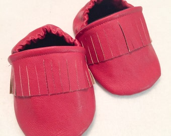 Red Leather Moccasins - Choose a size