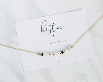 BESTIE Morse Code Necklace, Morse Code Jewelry, Gift for best friend, Dainty Jewelry, Make a wish jewelry, Gift for her, Birthday gift, BFF