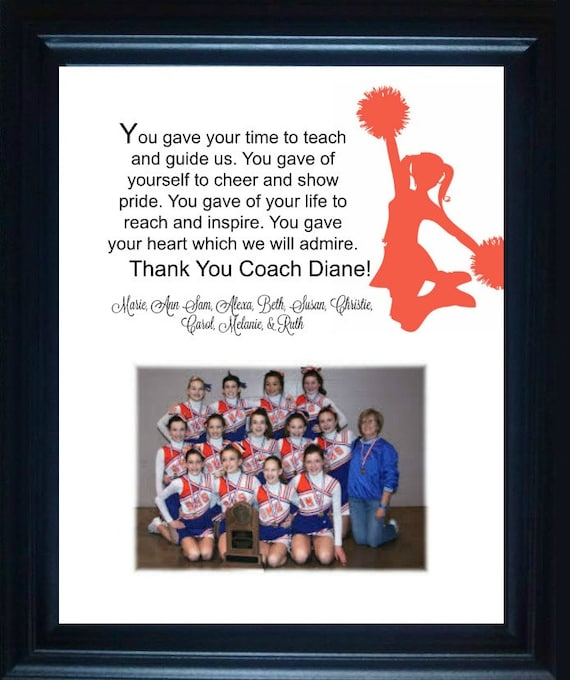 Cheer Coach Gift thank you gift personalized verse picture frame ...