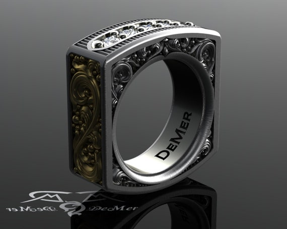 Square mens diamond ring Heavily engraved two tone solid gold