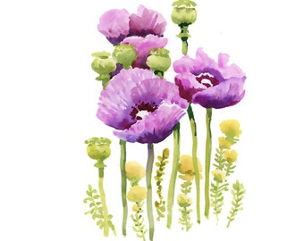 Purple Poppy Flowers Original Watercolour Painting 69