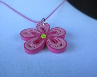 Flower Necklace, Pink Flower Pendant, Pink Flower Necklace