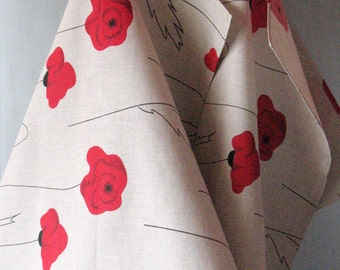 Linen Cotton Dish Towels Tea Towels Red Poppies Red Black Gray - Tea Towels set of 2