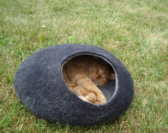 Cat bed/cat cave/cat house/Dark Gray with light Gray  felted cat cave/ any сolors