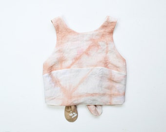 Reversible Cross Back Tie Tank in Madder//  Linen Cropped Tank Top - Reversible Tops - Linen Clothing - Women's Hand-made Clothing