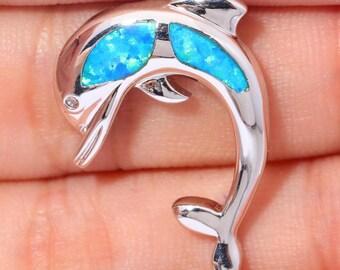 1 pendant Dolphin blue 25 X 19 X 4 mm AL68 fire opal 925 Silver
