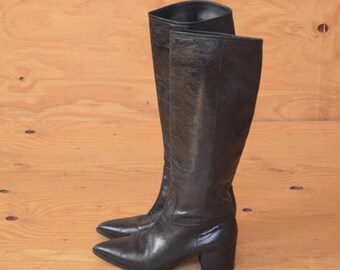 Vintage Late 90's Miu Miu Southwestern Cowgirl Knee High Boots In Black With Zip Up Detail SZ 8
