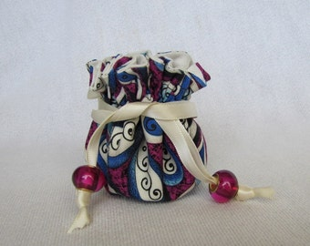 Jewelry Bag - Mini Size - Pouch for Jewelry -  Drawstring Travel Tote -PINWHEEL DOODLES