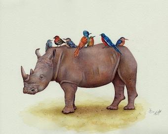 Rhino and his Pretty Birds Art Print - Animal Art, Bird Art, Watercolour Print
