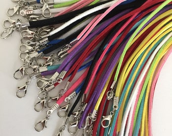Suede cord necklace, available colours purple, green, light pink, pink, blue, light blue, yellow, green, 18in/45cm long w. 2in/5cm extension