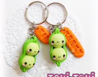 BFF Keychain Set, Best Friends Keychain, Kawaii Keychain, Polymer Clay Keychain, Cute Friendship Gift, Friends Keychain, Friendship Necklace