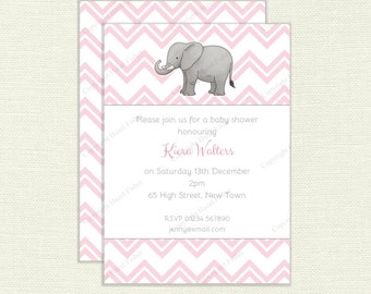 Elephant and Pastel Chevron Invitation - Printable Baby Shower or Birthday Party Invite - pastel pink, blue or mint green colour IN025