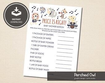 Safari Rock Band Price Is Right Game Card - Baby Shower - Instant Download Files - JPG - PDF - 5 x 7 File - Fun - Games