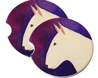 White Bull Terrier Purple and Red Natural Sandstone Drink Coaster Sets Home Decor Car Bull Terrier Gift Bull Terrier Coasters Bullie Dog