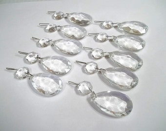 "Excellent Quality Chandelier Crystal Teardrops 1 1/2"" Lot of TEN (10) 1.5"" Chandelier Crystal Prism Tear Drops Wedding Decor Jewelry Supply"