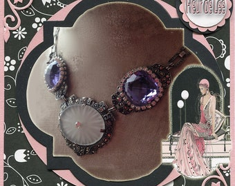 Amethyst Art Deco and Campher Glass Romantic Silver Vintage Necklace