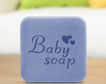"""Handmade Cookie Stamp Seal Soap Stamp - """"Baby Soap"""" with heart soap stamp"""