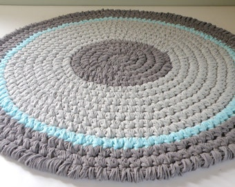 Round Crochet Bath Rug, Thick and Plush Cotton Bath Mat, Grey and Aqua Rag Rug Inspired Nursery Room Rug 27'' inch diameter.