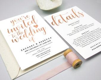 Wedding invitation set editable, Rose gold wedding invitation template, Boho wedding invitation template, Invitation suite wedding