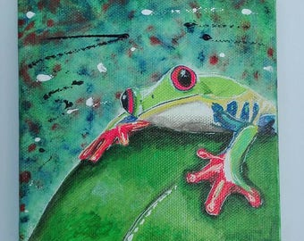 Frog 4 hand painted on square canvas
