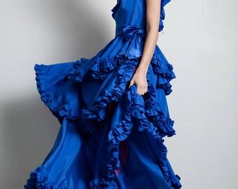 vintage 70s tiered ruffled floor length gown dress blue one shoulder LARGE L