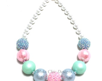 Toddler or Girls Chunky Necklace - Pink, Blue and Mint Green Chunky Necklace - Girls Unicorn Necklace - Girls Pastel Spring Chunky Necklace