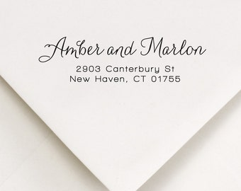 Self Ink Address Stamp - Return Address Stamp - Script Address Stamp - Custom Address Stamp - Wedding Invitations - Amber and Marlon
