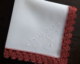 White cotton handkerchief with pink crocheted border