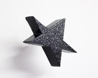 wall art, star#41, original sculpture, black
