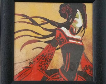 "Sand painting ""Manga red & Black"""