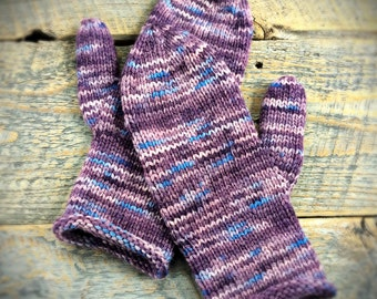 Wool winter mittens - purple