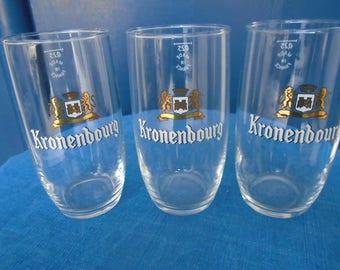 Advertising glasses - set of three glasses - Kronenbourg beer glasses - French beer - 70s