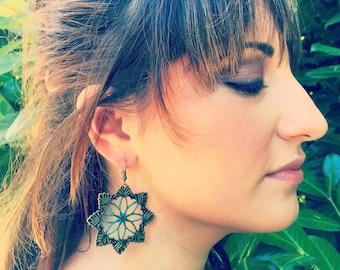 Filigree Spiral Earrings, Boho Earrings,Gypsy Earrings,Chakra Earrings,Hoop Earrings,Patina Earrings,Boho Jewelry,Purple Earrings