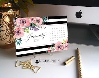 2018 CALENDAR WITH STAND 2018 Desk Calendar 2018 Floral Calendar 2018 Planner 2018 Organizer Year 2018 Calendar Pretty Planner - Elise