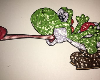 """Paper Quilled Yoshi on a 4"""" x 6"""" piece of cardstock"""