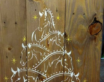 Horse Christmas Tree Merry Gifts Lovers Country Decor
