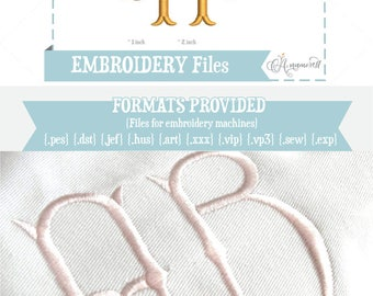"""1"""" & 2"""" Fancy Fishtail Embroidery Alphabet Monogram Files, Instant Download of Embroidery Files for Embroidery Machines / BX font"""