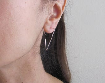 Triangle hoops in yellow gold, rose gold filled or solid sterling silver wire, geometric earrings