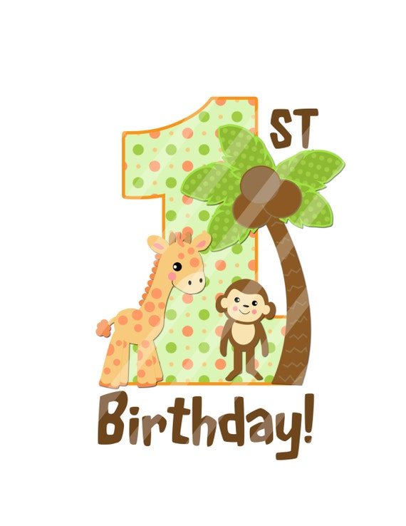 jungle baby first birthday digital clip art printable jpeg rh etsy com first birthday clipart images first birthday clipart girl