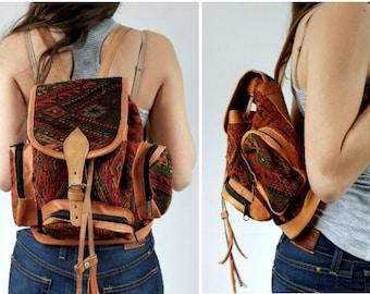 Vintage Kilim Leather Backpack, Vintage Leather Backpack, Mini Leather Backpack, Aztec Leather Backpack, Vintage Tribal Backpack