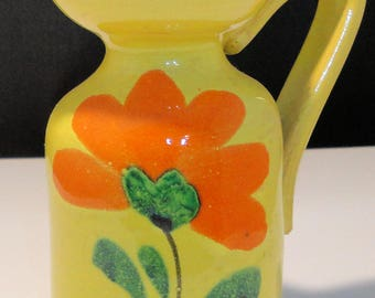 Signed Italy Vintage Pottery Pitcher 4-inch Yellow with Orange Flower Green Trim