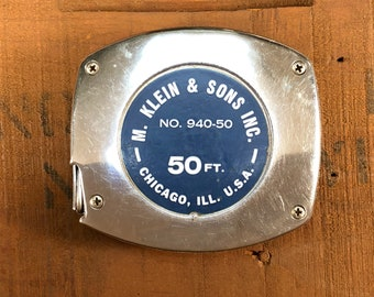 Vintage 50ft M. Klein & Sons Chicago Advertising Tape Measure Stanley Lifeguard Measuring Tape Made in USA No. 940-50