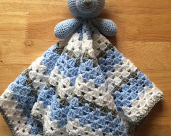 Hand crocheted sleepy bear baby snuggle/comfort blanket