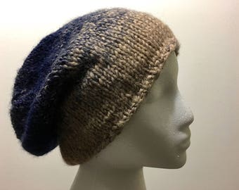 Knitted slouchy hat,Slouchy hat,Slouchy beanie,blue knit hat,ombre winter hat,hand knit hat,wool hat,Knit winter hat,hand knit beanie