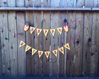Super Hero Iron Man Birthday Banner