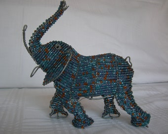 Large Hand Made Beaded Elephant