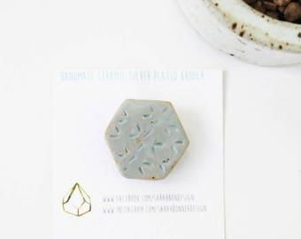 Ceramic Pin, Pin Badge, Handmade Geometric Brooch, Geometric Brooch, Handmade Ceramic Pin, Baby Blue Ceramic Brooch,