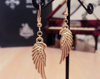 Earrings wing bird - Golden - 4.5 cm